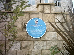 History of Wetherby - A blue plaque marking the site of Wetherby Castle