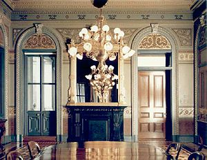 American Renaissance - American Renaissance painted decor: gilded stencilling on an olive green ground in the Office of the Secretary of the Navy in the Executive Office Building, 1879 (now the Vice President's Ceremonial Office)