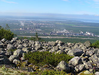 Apatite - Apatite quarries and processing facilities. View from Khibiny Mountains