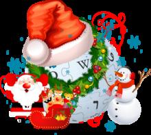 Logo de Wikipédia surmonté d'un bonnet de Noël et décoré d'une guirlande avec le père Noël, son traîneau et des rennes, au nez rouge, ainsi qu'un bonhomme de neige autour. Quelques flocons de neige et autres décors sont présents en fond.