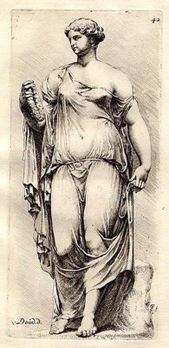 Willem Doudijns - Roman sculpture seen from the front, drawn by Doudijns, and engraved by Jan de Bisschop.
