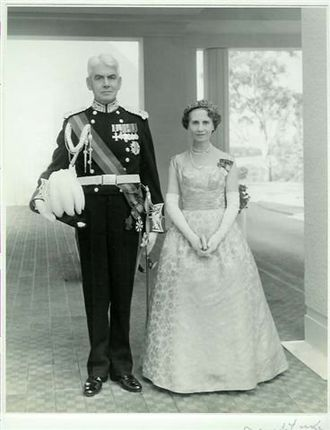 Governor-General of Australia - Viscount Dunrossil, 14th Governor-General of Australia (1960–61), in his court uniform, with his vice-regal consort, Viscountess Dunrossil.