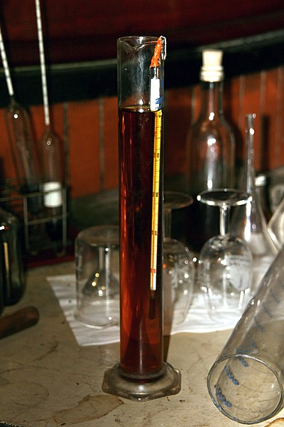 A thermometer used to measure temperature of alcohol. The liquid in the tube is Cognac, the liquid in the thermometer is alcohol. See also this Alcoholmeter. Photo taken in a wine farm in Cherves de Cognac, Charente, Poitou-Charentes, France.