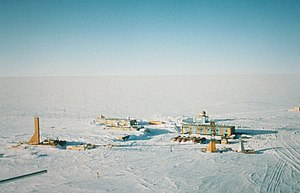 Lowest temperature recorded on Earth - Aerial photograph of Vostok Station, the coldest directly observed location on Earth.