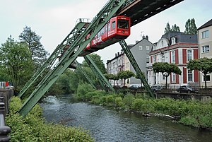 Wuppertal - The Schwebebahn floating tram in Wuppertal-Barmen