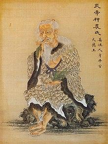 Un dessin représentant l'empereur Shennong assis