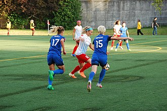 Reign FC - Seattle Reign forwards Beverly Yanez and Megan Rapinoe in a match against the Chicago Red Stars, June 28, 2017.