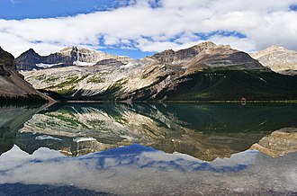 Mount Jimmy Simpson - Bow Lake with Thompson and Jimmy Simpson