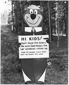 "Yogi Bear with ""don't feed the bears"" message - NARA - 286013.tif"