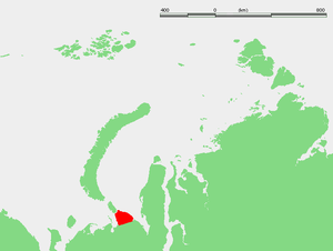 Yugorsky Peninsula - Location of the Yugorsky Peninsula.
