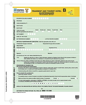 South African National Census of 2011 - Questionnaire B
