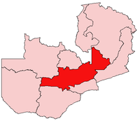 Map of Zambia showing the Central Province