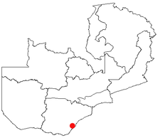 Location of Sinazongwe in Zambia