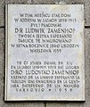 Zamenhof commemorative plaque 5 Zamenhofa Street Warsaw.JPG