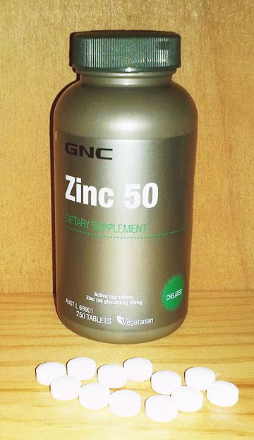 GNC zinc 50 mg tablets. The amount exceeds what is deemed the safe upper limit in the United States (40 mg) and European Union (25 mg) Zinc 50 mg.jpg
