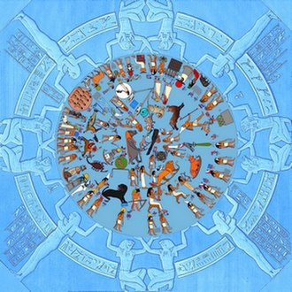 Hellenistic astrology - Dendera zodiac with original colors (reconstructed)