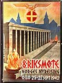 """8. riksmøte Norges nyreising Oslo 25.-27.sept 1942"", WWII Nazi poster at Norway's Resistance Museum in Oslo, photo 2017-11-30 (ligthened, stretched version).jpg"
