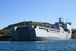 Bay-class landing ship - RFA Largs Bay in Portland Harbour, August 2009