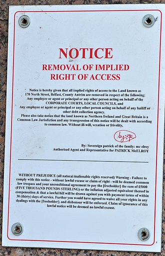 Sovereign citizen movement - An example of a notice used by a sovereign citizen in Belfast, Northern Ireland