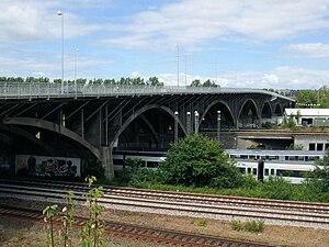 Ring 1 (Aarhus) - Ring 2 (Ringgaden). The bridge of Ringgadebroen, crossing the railway yard.