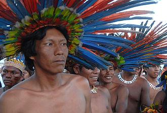 Human uses of birds - Bororo men wearing brightly-coloured feathered headdresses
