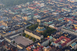 Östermalm - September 2014 aerial view of central Östermalm