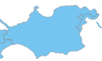 Kerch Peninsula - Map of the Kerch Peninsula (blue), Azov Sea (above), and Black Sea (below).