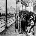 הקונגרס הציוני השני בבזל (1898) קבלת המשתתפים בתחנת הרכבת בבזל ( ציור מאת מ.-PHG-1002254.png