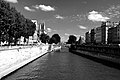 'île de la Cité (à gauche) et le quartier latin (à droite), situés à Paris, vus du pont Saint-Michel enjambant la Seine.jpg