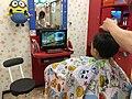 初めてのお店でのヘアカット 大好きな電車の番組を観ながら (29596958265).jpg