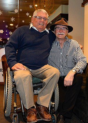 Australia at the 1976 Winter Paralympics - Two of the founders of Disabled Wintersport Australia, Ron Finneran (L) and Nick Dean (R) at a function on 3 September 2013 in Thredbo during the first IPC alpine skiing world cup event to be held in Australia, conducted by the Australian Paralympic Committee