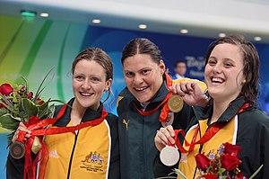 Natalie du Toit - Image: 070908 Women's S9 100m butterfly medallists 3b crop