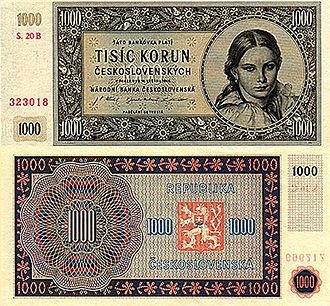 Dissolution of Czechoslovakia - 1000 korun československých from 1945