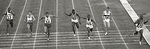Athletics at the 1964 Summer Olympics – Men's 100 metres - The 100 m final. Left-right: Tom Robinson, Wiesław Maniak, Harry Jerome, Gaoussou Koné, Enrique Figuerola, Heinz Schumann, Bob Hayes