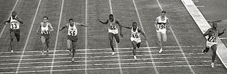 Enrique Figuerola - 1964 Olympics, 100 m final, Figuerola is 3rd from right