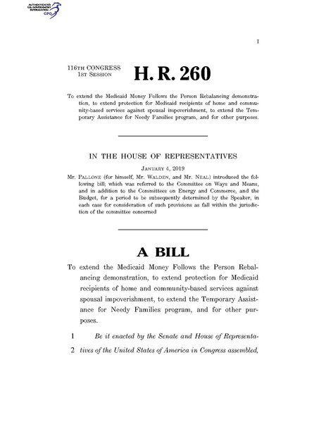 File:116th United States Congress H. R. 0000260 (1st session) - Medicaid Provisions and TANF Extenders Act of 2019.pdf