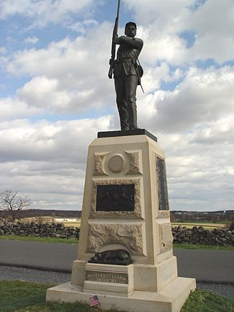 11th Pennsylvania Infantry - Monument to the 11th Pennsylvania Infantry Regiment at the Battle of Gettysburg. It is located off Doubleday Avenue on Oak Ridge in the Gettysburg National Military Park, Gettysburg, PA, USA. The location is near the right flank of the First Corps on July 1, 1863. Note the inclusion of the regimental mascot, Sallie (see info at left).