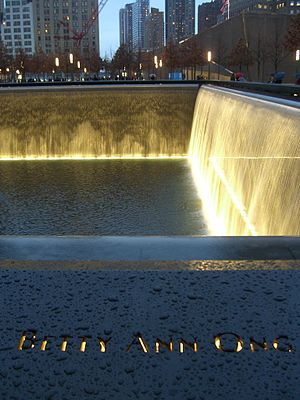 Betty Ong - Ong's name is located on Panel N-74 of the National September 11 Memorial's North Pool, along with those of other passengers of Flight 11.