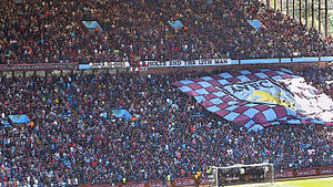 Aston Villa F.C. - Aston Villa fans in Villa Park's Holte End, proclaiming themselves to be the team's 12th man.