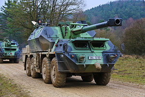 152mm SpGH DANA - ShKH vz. 77 of Czech Army during a military exercise.