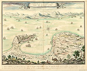 Twelfth Siege of Gibraltar - French map of the siege of Gibraltar by Louis Boudan (1704)