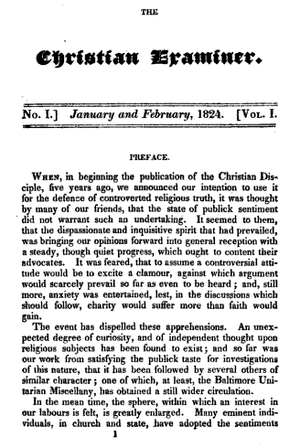 Christian Examiner - Image: 1824 Christian Examiner v 1 no 1 Boston
