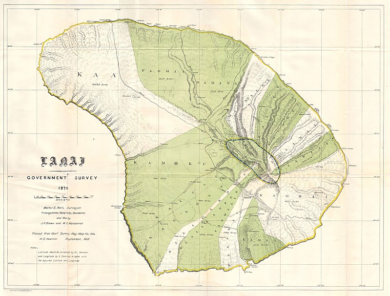 Map of 1878 with traditional subdivision into Ahupua`a 1878 Government Land Office Map of Lanai, Hawaii - Geographicus - LanaiHawaii-lo-1878.jpg