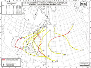 1889 Atlantic hurricane season - Image: 1889 Atlantic hurricane season map