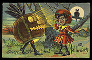 1910 Halloween card with African American girl