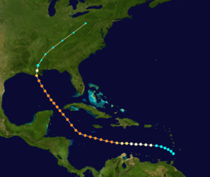 1915 New Orleans hurricane - Image: 1915 Louisiana hurricane track