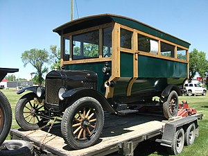 Wayne Corporation - A 1922 Ford Model T kid hack/bus (body manufacturer unknown).  By combining the kid hack wagon body with an automotive chassis, Wayne Works helped create the school bus in its earliest form.