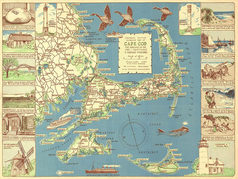 file 1940 colonial craftsman decorative map of cape cod  massachusetts - geographicus