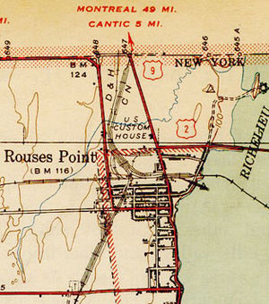 Map showing Rouses Point, New York