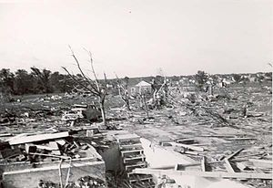1953 Flint–Beecher tornado - Tornado damage in Beecher, Michigan